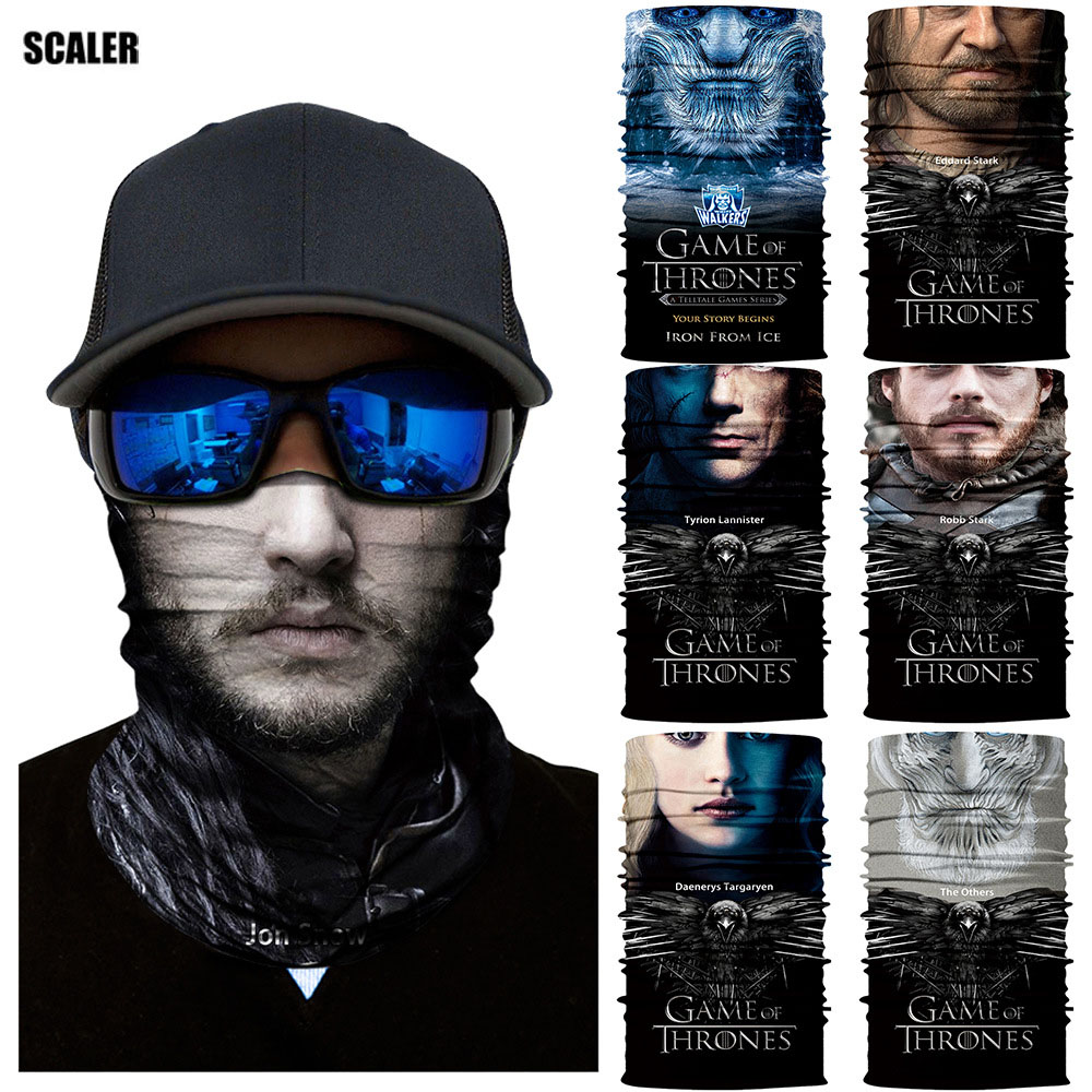 3D Cycling Seamless Balaclava Human Face Mask Game of Thrones Sports Magic Bandana Headband Multifunctional Motorcycle Scarves