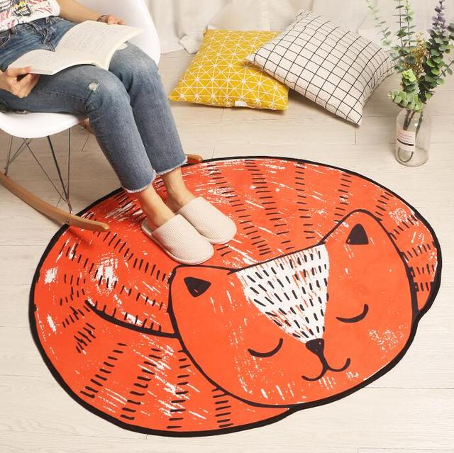 Cartoon Sleeping Cat Shape Round Carpet Non Slip Floor Mat Indoor Entrance  Doormat Chair Mat