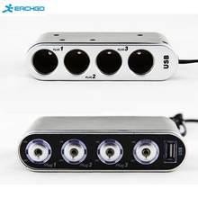 Vehicle Auto Car Cigarette Lighter Socket Splitter +USB Ports Plug Adapter Car-styling 12V-24V 4 Way Multi Socket Car Charger(China)