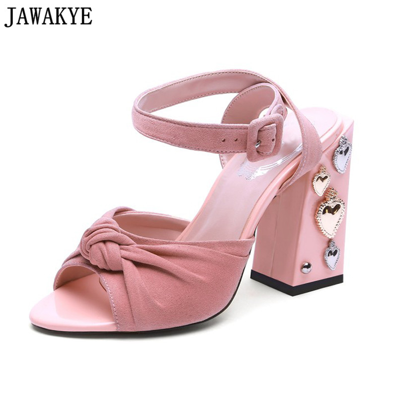 Pink blue black sandals women metal love heart rivets studded butterfly knot chunky high heels runway summer shoes sandalias pink white flowers sandals women crystal studded crossover chunky high heels runway rhinestone summer wedding shoes for ladies