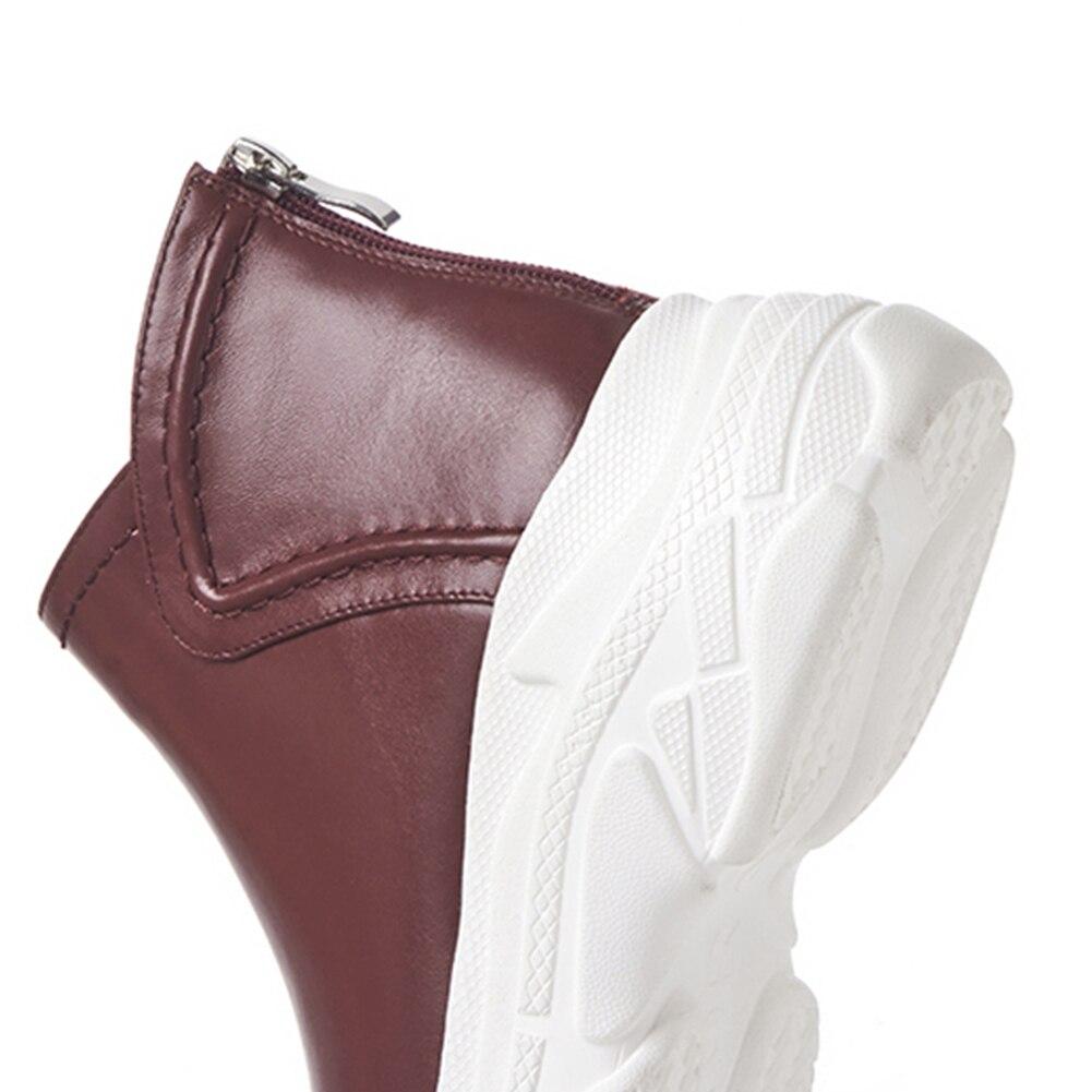 Zapatos Black Planas Cuñas Plataforma Moda Fur Tobillo No De wine Papá 2019 Otoño Add Del Genuino Doratasia Mujer Las La black Fur Fur Mujeres Botas Cuero TUq6xaa