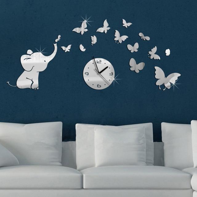 Creative DIY 3D Elephant Butterfly Decorative Mirror Wall Clocks ...