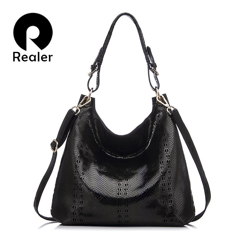 REALER brand new design genuine leather tote bag women fashion beige/black/red/c