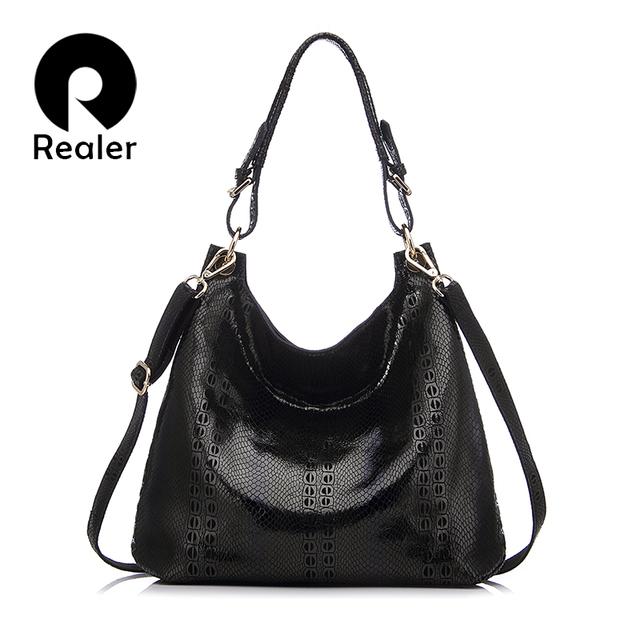 REALER brand new design genuine leather tote bag women fashion beige/black/red/coffee handbag Shoulder Bag With Embossed Handbag