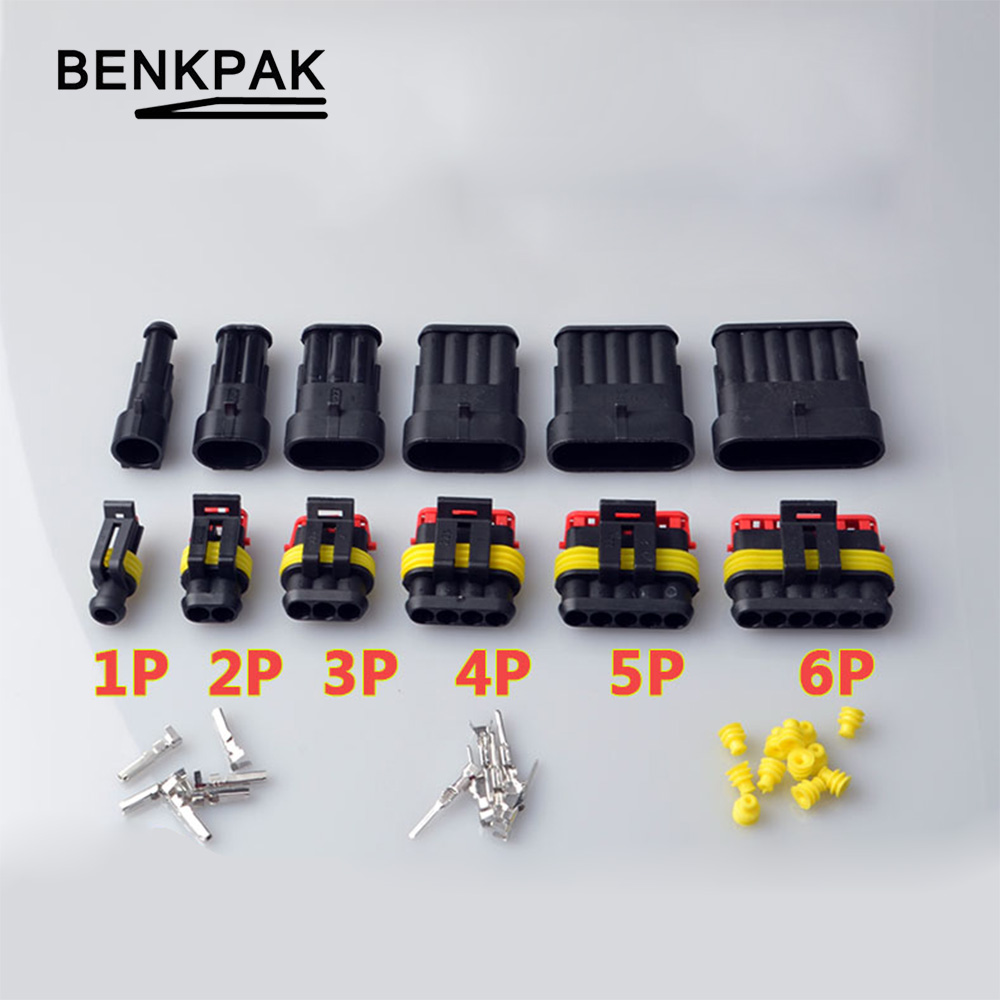 1Set 1/2/3/4/5/6 Pins Way AMP Super Seal Waterproof Electrical Wire 1.5 Connector Plug For Car
