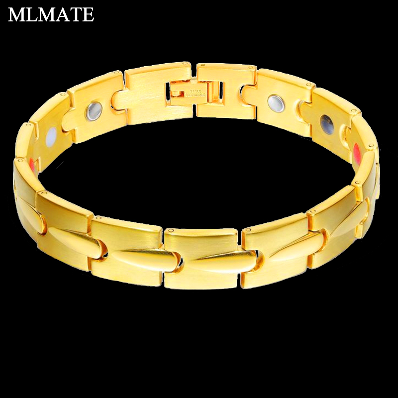 Hearty Gold Color Stainless Steel Health Magnetic Bracelets For Women Men Magnetic Therapy Bracelets For Arthritis Wristband Adjustable