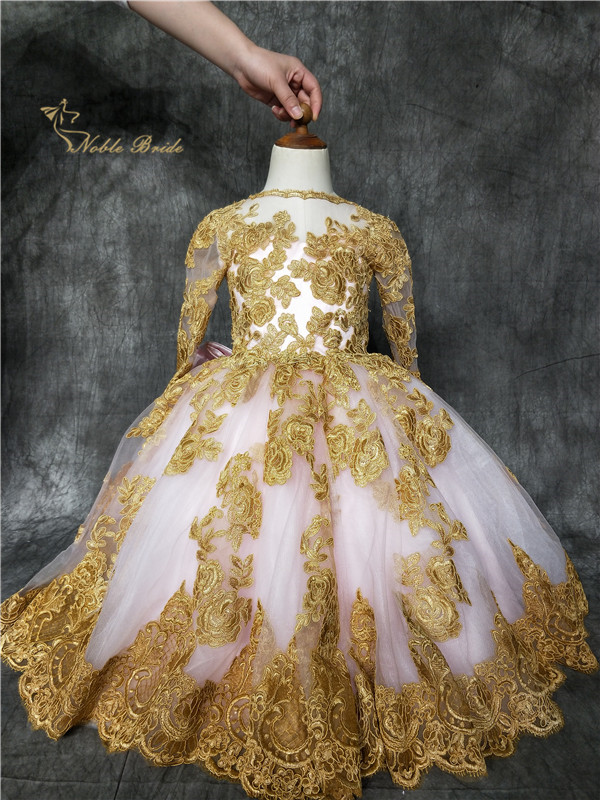 2019 Pink Flower Girl Dress With Gold Applique Lace Princess Little Girls Pageant Gowns Big Bow Back Ball Gown Birthday Wear