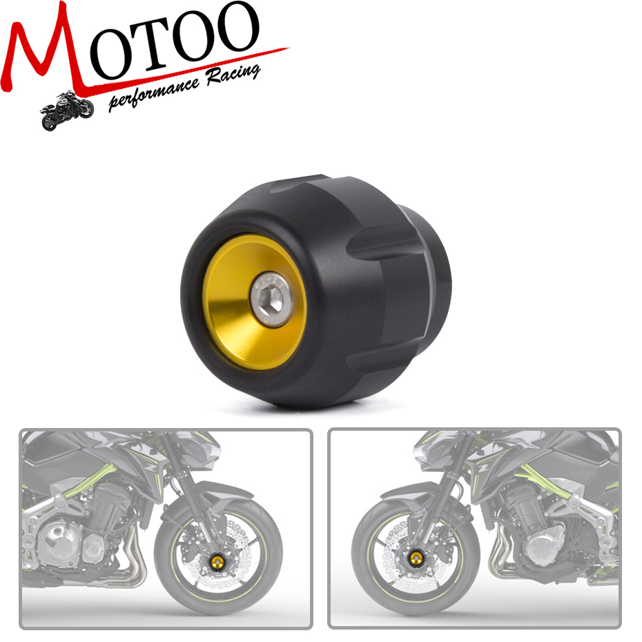 Motoo - free shipping Fit For Kawasaki Z900 Motorcycle Full Aluminum Crash Sliders Front Axle Fork Wheel Protector fit for kawasaki z900 z 900 2017 motorcycle cnc aluminum rear axle spindle chain adjuster blocks and spool sliders