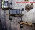 American Pipe Racks, Tubo de Parede de Ferro forjado Retro Indústria de Separador de Água de Madeira Pano De Fundo Parede Shelves-Z15
