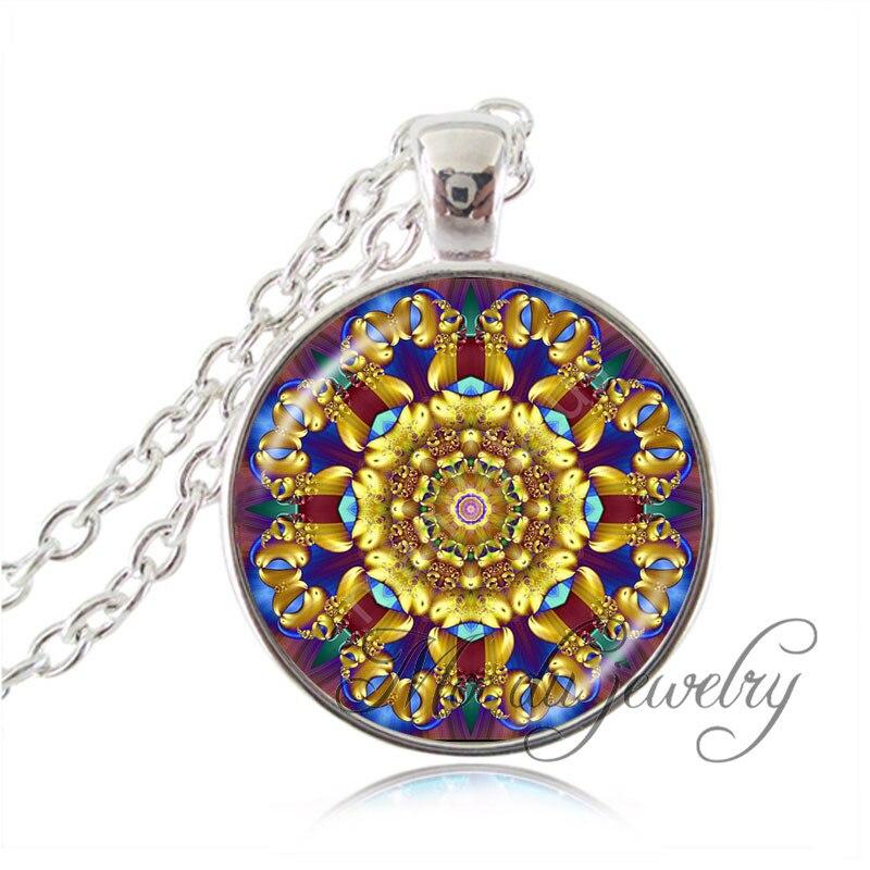 2016 Серебряная цепочка om мандала ожерелье стекло кабошон цветок Хной колье себе ожерелье для женщины мужчины ожерелье оптовая