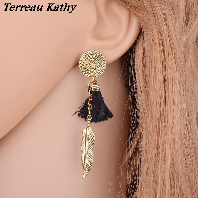 Terreau Kathy Special Design Vintage Small Tassel Earrings For Women Bohemia Metal Feather Earrings From India