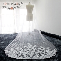 Rose Moda High Quality Custom Made 300cm Cathedral Veil with Lace Soft Tulle Bridal Veil White Ivory 3M with Comb