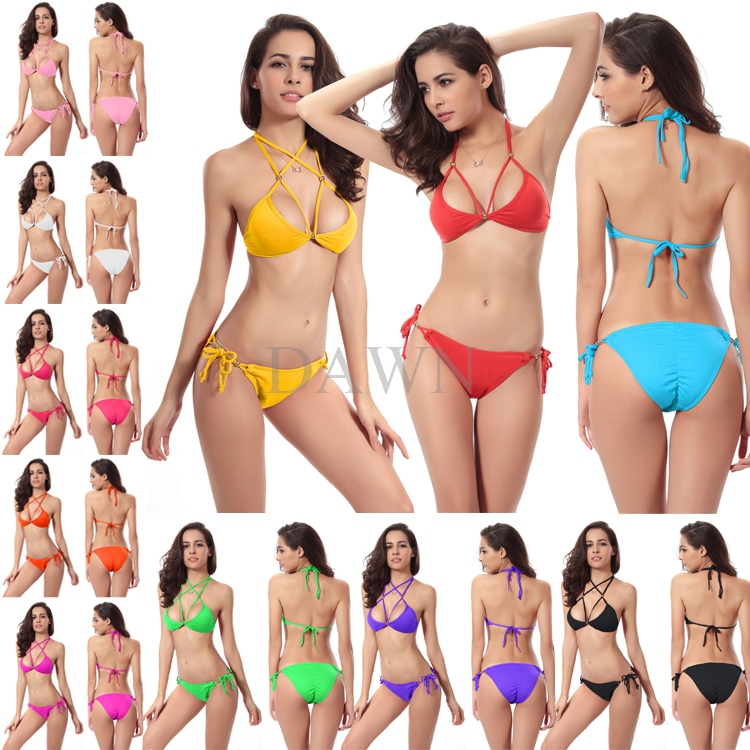 af7e3db59f 2015 New Summer Sexy swimsuit Swimwear Ass Crease Halter With Chest Pad Push  Up Bikinis set Double Kim Beachwear Biquini 10Color on Aliexpress.com