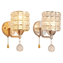 Ac85-265v Pull Chain Switch Crystal Wall Lamp Modern Stainless Steel Base Lighting Loft Luminarias De Interior Lights