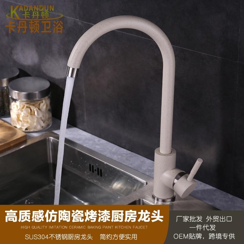 304 en acier inoxydable coulée Antique en céramique cuisson robinet bassin évier chaud et froid robinet de cuisine LO-10