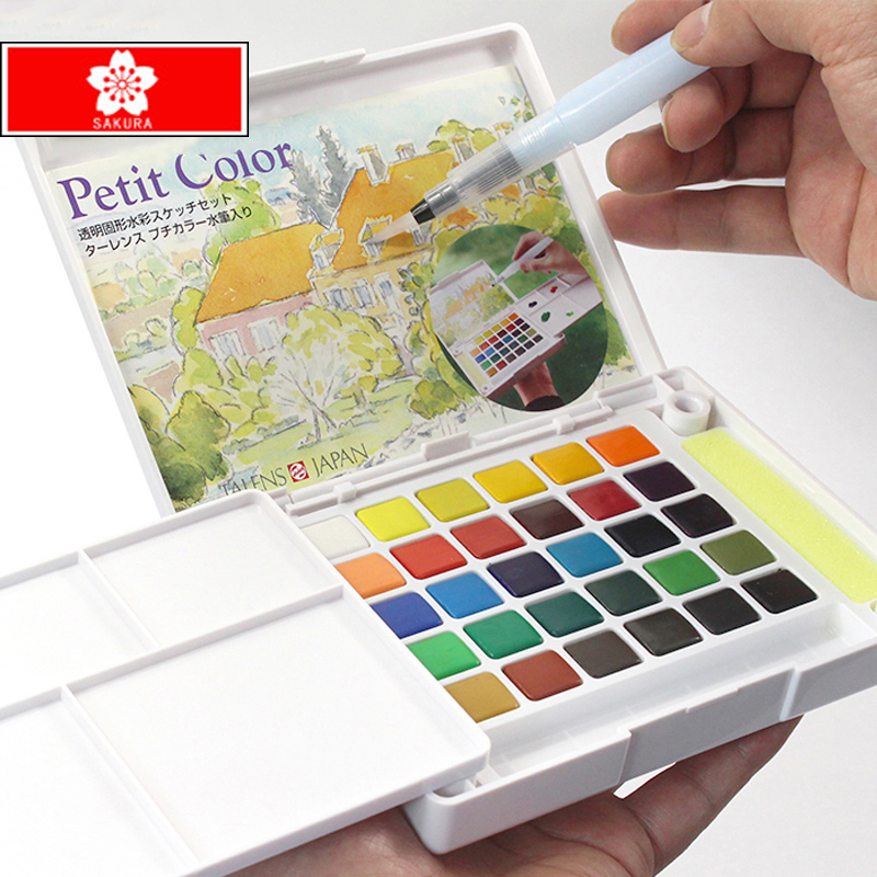Free shipping  Terrence 30/24/18/12 color solid watercolor paint box set professional student solid pigment artlamFree shipping  Terrence 30/24/18/12 color solid watercolor paint box set professional student solid pigment artlam