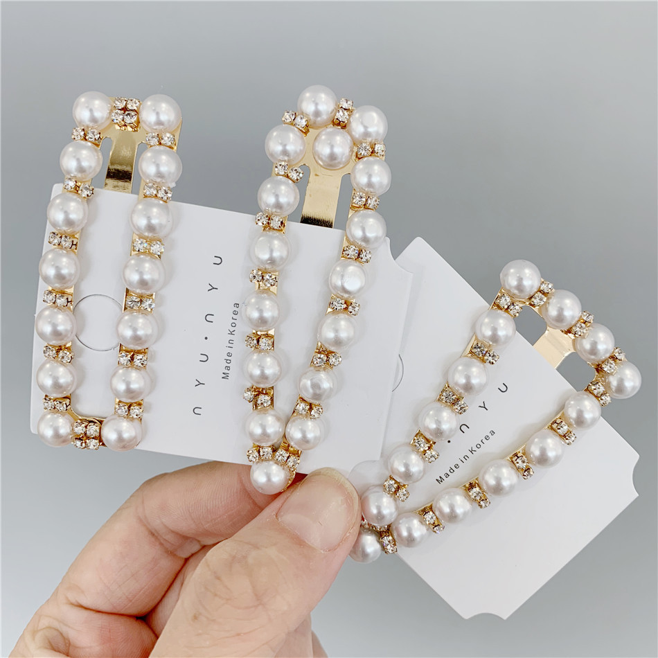 Women Girls Hair Accessories Ladies Hair clips Pearl Crystal Hairpins BB Clips   Headwear   For Women Girls Gifts