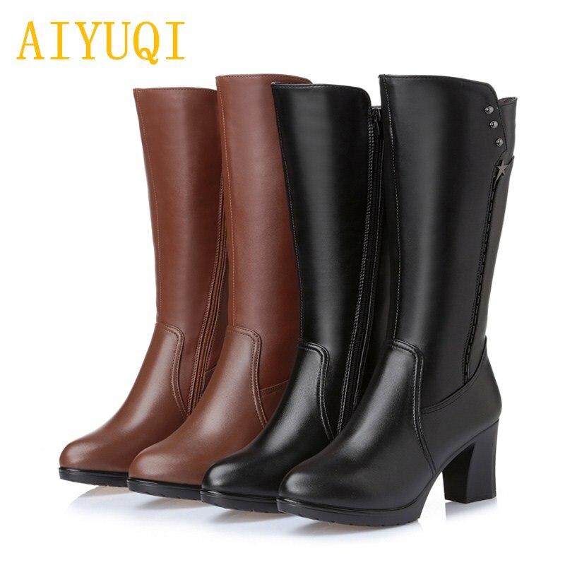 AIYUQI إمرأة الأحذية الشتاء 2019 جديد جلد طبيعي النساء أحذية عالية الكعب ، سميكة الدافئة الصوف مارتن الأحذية حذاء نسائي بكعب عالٍ-في أحذية منتصف ربلة الساق من أحذية على  مجموعة 1