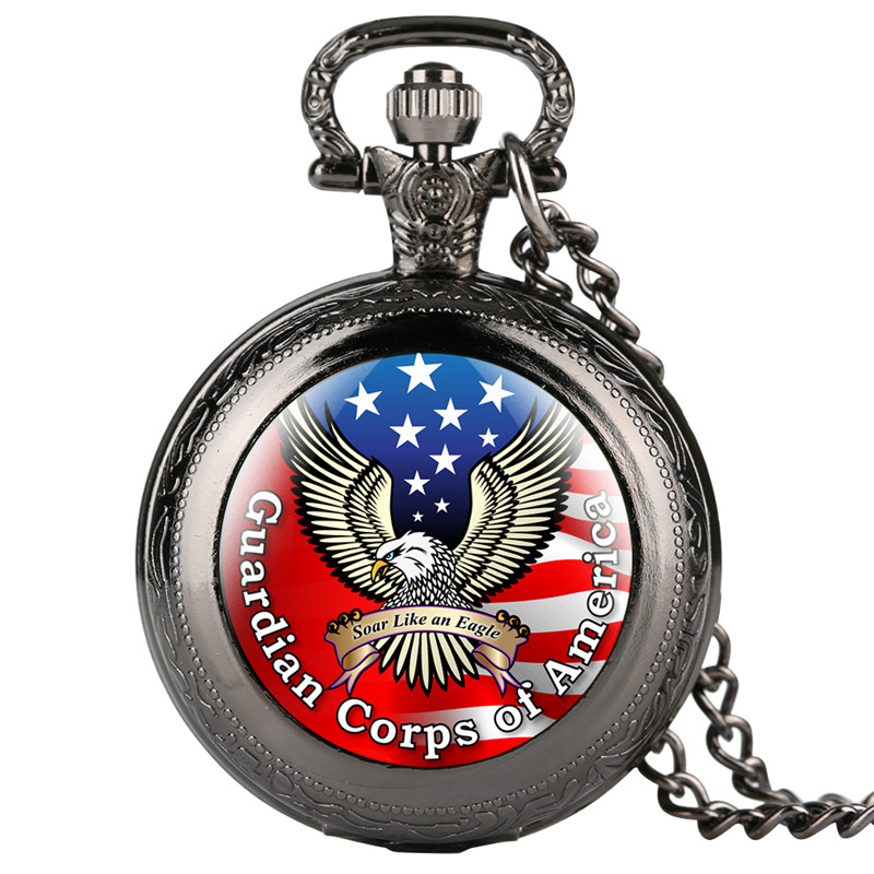 Vintage Quartz Pocket Watch Retro For Women Men Unique American Flag Sea Eagle Pattern Luminous Necklace Gift For Pocket Watch