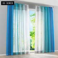 Living Room Decorative Tulle Simple Gradient Curtain Window Blue Orange Gray Semi Blackout Veranda Living Room