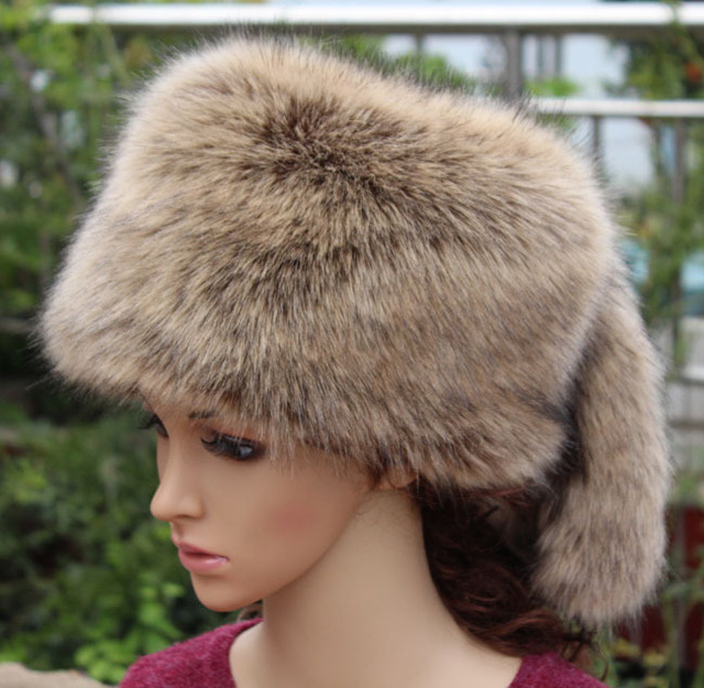 2018 Europe and United States thickened warm faux fox fur flat hat faux fur  hat tail cap Ear protector Winter female Bomber Hats c7c2a0505bf