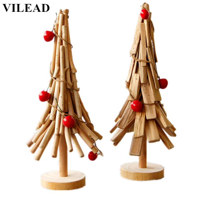 VILEAD 15.7 ''hauteur bois Chritsmas arbre décoration bois arbres Figurines bois bâton puce arbre modèle noël cadeau décor à la maison