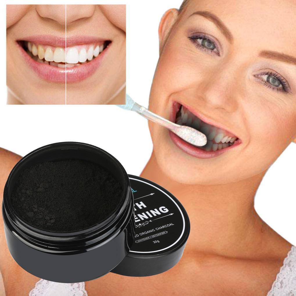 30g de Clareamento Dos Dentes Em Pó Orgânico Natural Ativado Carvão De Bambu Creme Dental Higiene Oral de Escala de Limpeza Embalagem Premium