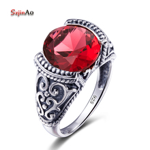 Szjinao Sale Luxury Brand Jewelry Vintage Retro Round Red Ruby Rings For Women 925 Sterling Silver Ladies Rings Size 5-10