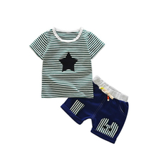 hot deal buy 2018 children boys girls tracksuits baby striped t-shirt short pants 2pcs/sets summer infant star cotton clothing sets