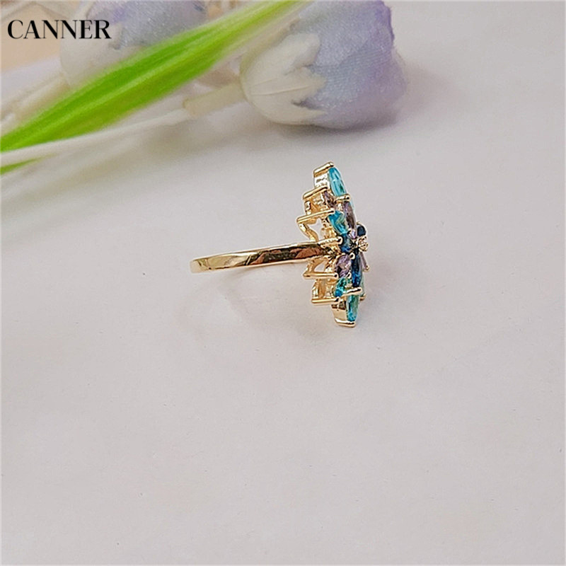 Canner Women Fashion Multicolor Crystal Ring With AAA Multicolor Cubic Zircon Wedding Ring Gift in Wedding Bands from Jewelry Accessories