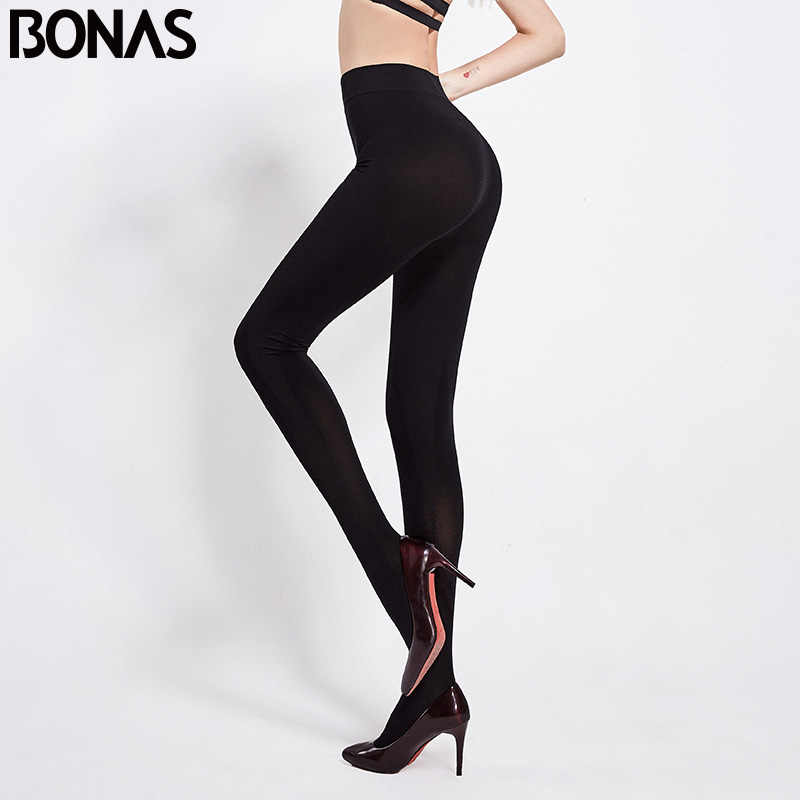 BONAS 200D Tights 6 ชิ้น/ล็อตฤดูใบไม้ร่วงกำมะหยี่ Pantyhose ผู้หญิงความยืดหยุ่น Plus ขนาด Spandex หญิงถุงน่อง
