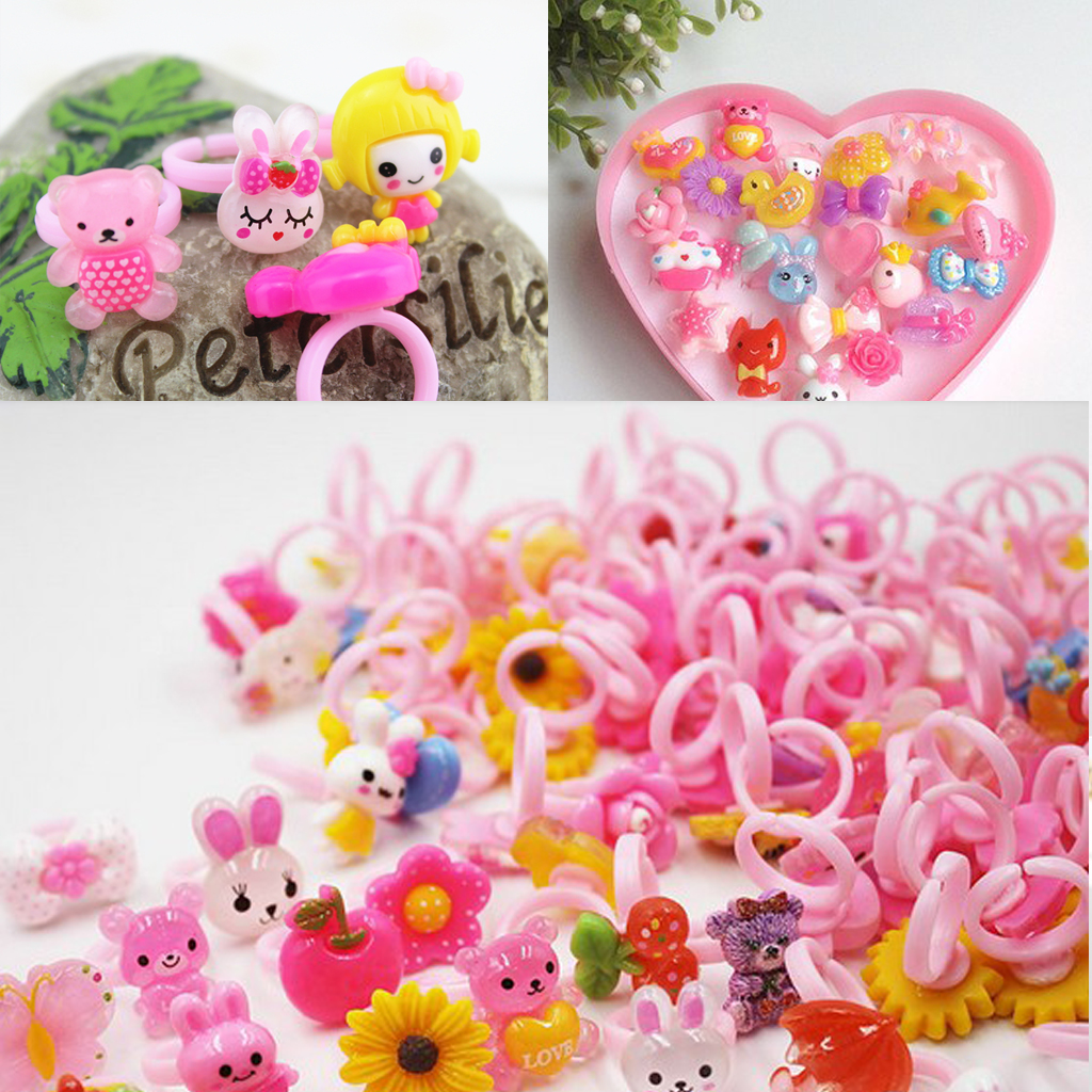 50 Piece Pink Plastic Children Adjustable Ring Base for DIY Kids Jewelry Ring
