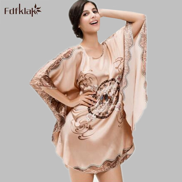 2017 brand summer dressing gowns silk stain   nightgowns   loose women   sleepshirts   print womens nightdress ladies nightshirt Q954