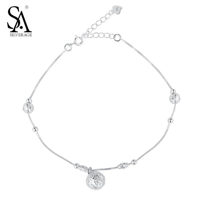 925 Sterling Silver Anklets For Women Anklets Silver 925 Hollow Ball Charm Fine Jewelry Accessory Best Gift 11.11