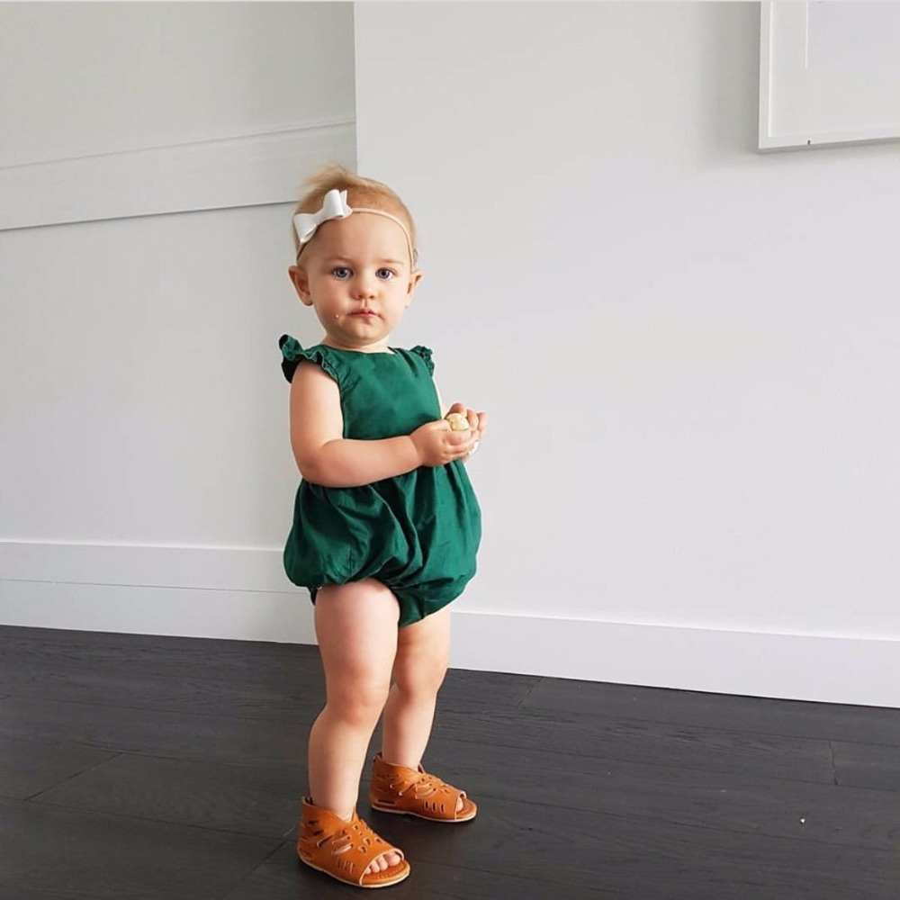 bd05e19f3487 2017 Girl Retro Green Rompers Newborn Infant Baby Girl Clothe Tops Ruffles  Jumpsuit Outfits Sunsuit Clothing