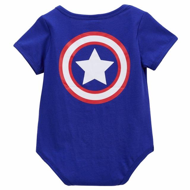 2 pcs Bébé Garçon Captain America Costume Body Mignon Bébé avec Chapeau Ensemble 0-18 m
