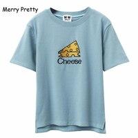 MERRY PRETTY Women Cartoon Cheese Letter Funny T Shirts Harajuku Female Korean Kawaii Cute Short Sleeve