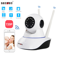 SECTEC Dual Antenna 720P Pan Tilt WiFi IP IR Camera HD Home Security Camera Support Two