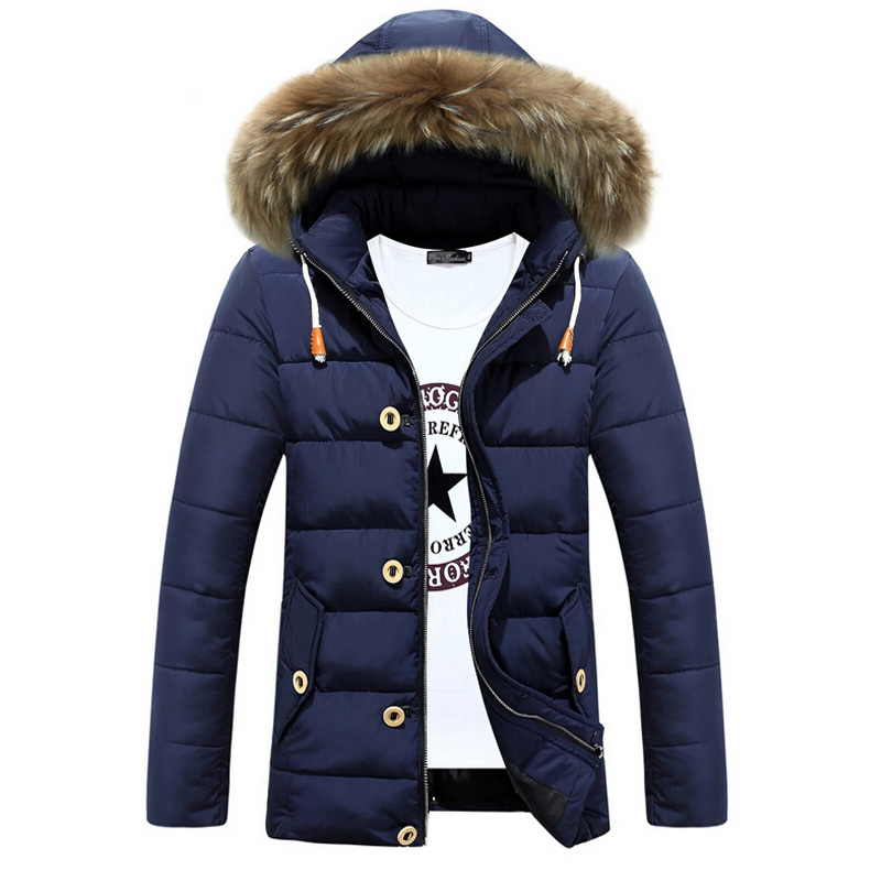 Winter Jacket Men Cotton Hooded fur collar Warm Jackets Mens Casual Thick Overcoat Coat Plus size XXL Parka
