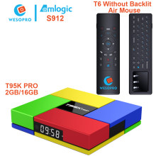 WESOPRO T95K PRO IPTV Android 7.1 TV Box Amlogic S912 Octa-Core 2GB/16GB with air mouse T6 better than TX3 MINI A95X X96 H96 T95(China)