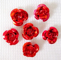 950pcs/bag  Aluminum  Beads,  Mother's Day Gift Beads,  Flower,  Red,  6mm wide,  4.5mm high,  hole: 1mm,  about
