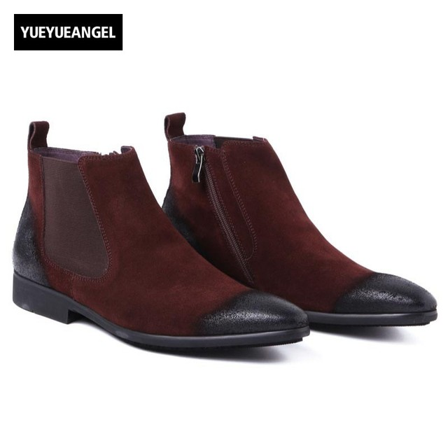 Winter Genuine Suede Leather Business Man Office Work Shoes Male Footwear Top Brand Zipper Retro Ankle