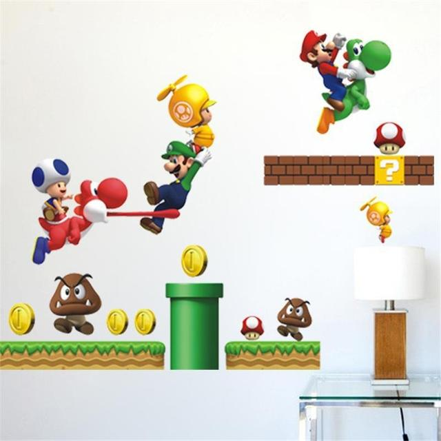 Cartoon Super Mario Bros Wall Stickers Boy Room Decoration 621 Kids Art  Decal Mural Home Decor
