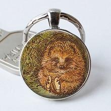 Mr Pricklepin Keychain Hedgehog Keyring Cabochon Story Book Glass Beatrix Potter Gift Key Chain Ring
