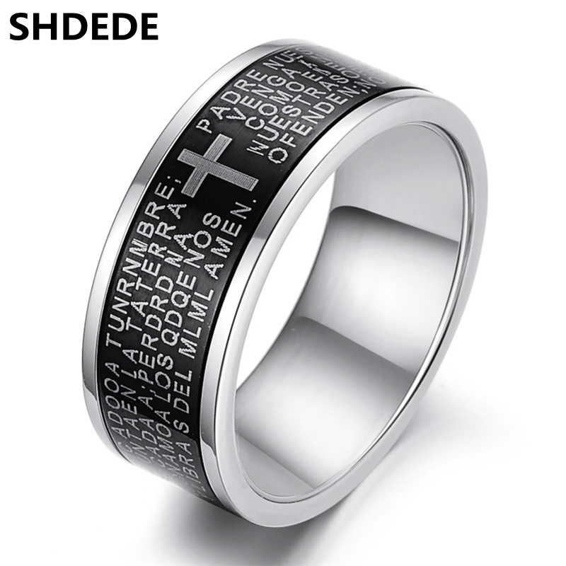SHDEDE 316l Stainless Steel Cross & Bible Rings Men Vintage Fashion Jewelry High Quality Finger Rings *.OR279