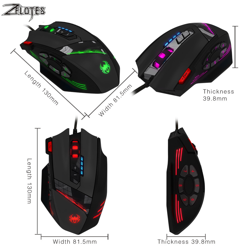 Image 3 - ZELOTES C 12 Wired USB 4000 DPI A Optical Gaming Mouse 12 Programmable Buttons Computer Game Mice 4 Adjustable DPI 7 LED Lights-in Mice from Computer & Office