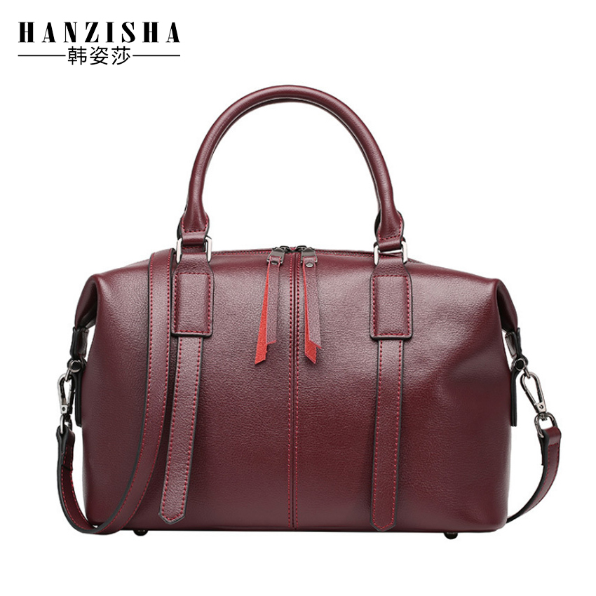 2018 Genuine Leather Women Boston Bag New European Boston Handbag Solid Color Cowhide Leather Women Messenger Bag sac a main