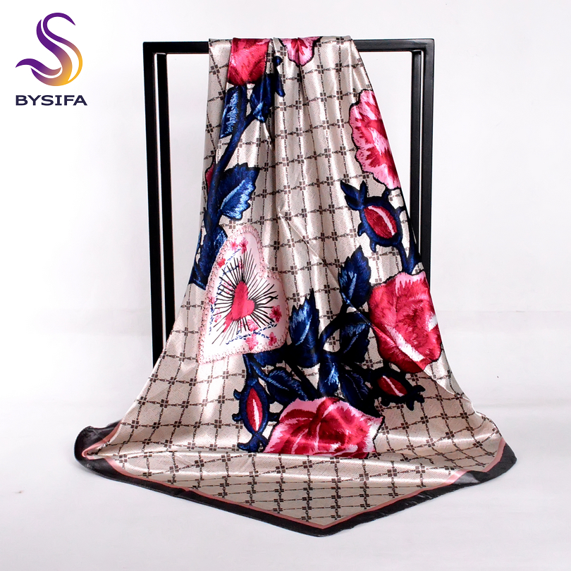 [BYSIFA] Navy Blue Plaid Roses Women Scarves Head Scarves New Arrival Autumn Winter Trendy Satin Silk Scarf Neck Scarf 90*90cm