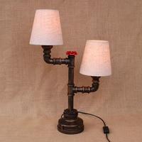 Vintage design retro black bedside 2 lights fabric lampshade table lamp e27 lights sconce for bedroom workroom workshop office