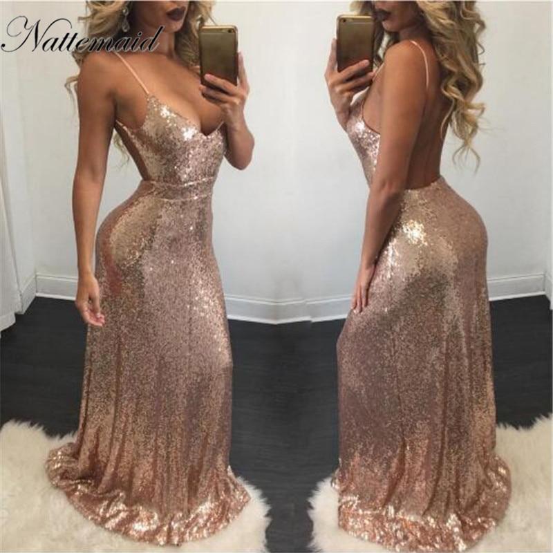 c38b2c7333 NATTEMAID 2019 Summer Bodycon Night Party Dress Women Maxi Long Sequin  Dresses Elegant Backless Sexy Dress Vestido De Festa-in Dresses from Women's  Clothing ...